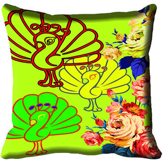 meSleep Beautiful Peacock Digital Printed Cushion Cover 20x20