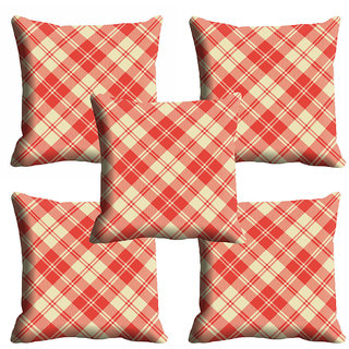 meSleep Red Checks Cushion Cover (18x18)