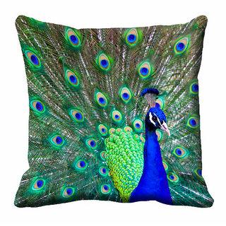 meSleep Green Beautiful Peacock Cushion Cover (20x20)