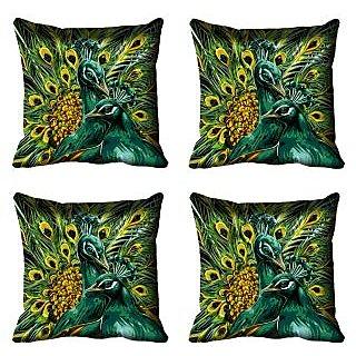 meSleep Peacock Digital Printed Cushion Cover (20x20)
