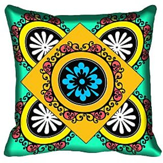 meSleep Square Floral Design Digital Printed Cushion Cover 18x18