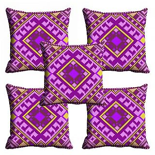 meSleep Purple Ethnic Cushion Cover (12x12)