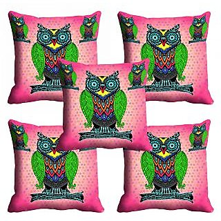 meSleep Pink Owl Cushion Cover (20x20)