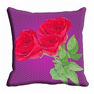 meSleep Purple Floral Cushion Cover (12x12)