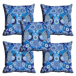meSleep 3D Blue Peacock Cushion Cover (18x18)