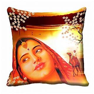 meSleep Abstract Multi Colour Lady Cushion Cover (12X12)