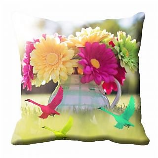 meSleep Multi Colour Floral Cushion Cover (18x18)