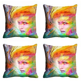 meSleep 3D Multi Colour Face Cushion Cover (12X12)