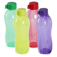 Tupperware 1 Litre Water Bottle (Set Of 4 Bottles) - ROUND SHAPED - MULTICOLOURED
