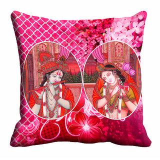 meSleep 3D Pink Radha Krishna Cushion Cover (12X12)