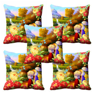 meSleep 3D Multi Colour Nature Cushion Cover (20x20)