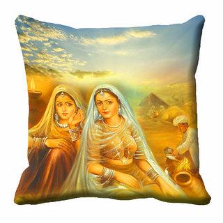 meSleep Multi Colour 2 Lady Cushion Cover (20x20)