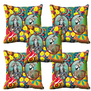meSleep 3D Multi Colour Raja Rani Cushion Cover (12X12)