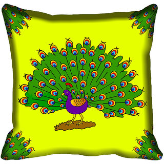meSleep Beautiful Peacock Design Digital Printed Cushion Cover 12x12
