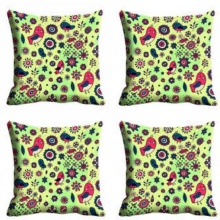 meSleep Multi Color Bird Nature Cushion Cover (20x20)