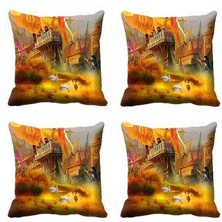 meSleep 3D Multi Colour Cushion Cover (18x18)