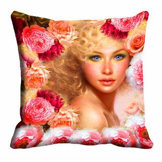 meSleep 3D Beautiful Girl Cushion Cover (18x18)