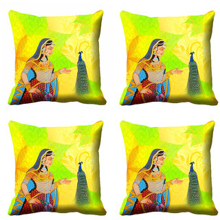 meSleep Multi Colour Rani Cushion Cover (12X12)