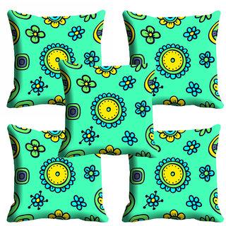 meSleep Green Floral Cushion Cover (18x18)