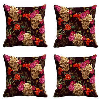 meSleep Multi Color Flower Cushion Cover (18x18)