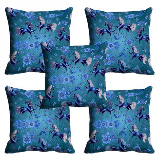 meSleep 3D Blue Horse Cushion Cover (20x20)