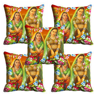 meSleep Multi Colour 2 Lady Cushion Cover (20x20)
