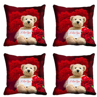 meSleep Red Love Teddy Cushion Cover (12X12)