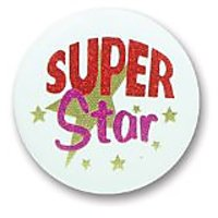 "Super Star Satin Button 2"" Party Accessory"