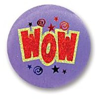 "Wow Satin Button 2"" Party Accessory"