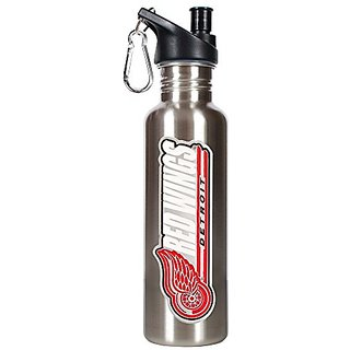 NHL Detroit Red Wings Stainless Steel Water Bottle with Pop Up Spout, 26-Ounce