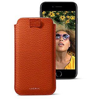 Lucrin - iPhone 7/6/6S ultra slim sleeve, protective soft case with pull-up strap - Orange - Granulated Leather