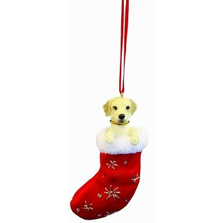Yellow Labrador Christmas Stocking Ornament with