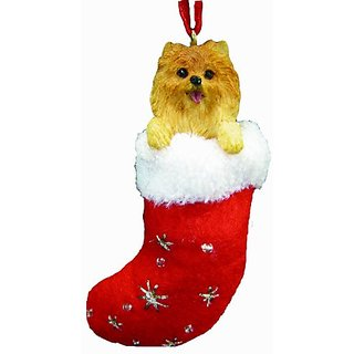 Pomeranian Christmas Stocking Ornament with