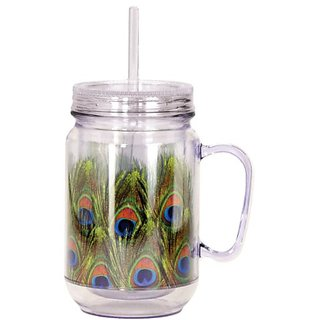 Spoontiques Peacock Feathers Mason Jar, Green