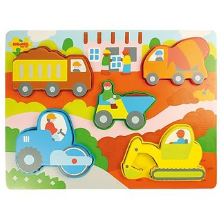 Bigjigs Toys BJ331 Chunky Lift Out Construction Site Puzzle