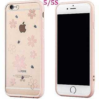 Buyus iPhone 5S / 5 / SE Cases for Girls / Teen Girls / Women, Clear Crystal Hard Back with Flowers Design and Soft Rubb
