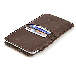 iPhone 7 Plus, 6 Plus, and 6S Plus Wallet Sleeve by Dockem- Vintage Synthetic Leather Card Case; Ultra Slim Professional