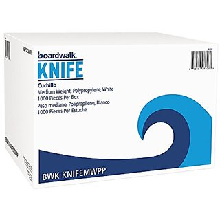 Boardwalk KNIFEMWPP Mediumweight Polypropylene Cutlery, Knife, White (Case of 1000)