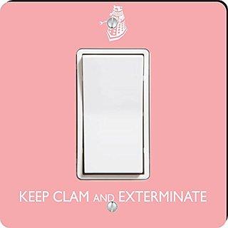 Rikki Knight Keep Calm and Exterminate Single Rocker Light Switch Plate, Pink