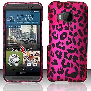 HTC One M9 Case, Hard Rubberized Cover by MEGATRONIC - Pink Leopard [With FREE Touch Screen Stylus Pen]