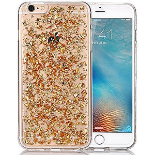 Iphone 6s Plus Case, Luxury Bling Glitter Faceplate Gold Leaf Design Flexible Soft TPU Protective Case Slim Fit for Appl