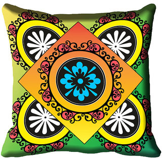 meSleep Ethnic Digital Printed Cushion Cover (18x18)