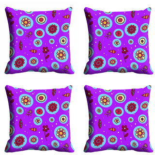 meSleep Purple Printed Cushion Cover (18x18)
