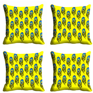 meSleep Yellow Peacock Wings Cushion Cover (18x18)