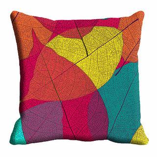 meSleep Multi Color Leaf Cushion Cover (20x20)