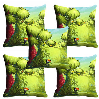 meSleep Green Beautiful 3D Nature Cushion Cover (20x20)