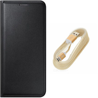 Black Leather Flip Cover and Golden USB V8 Cable for Micromax Canvas Spark 2 Plus Q350