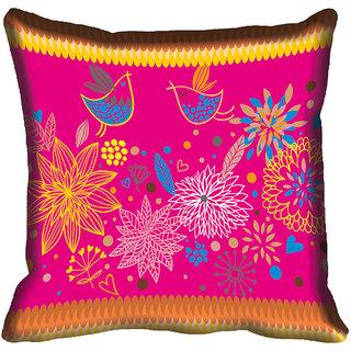 meSleep Abstract Floral Digitally Printed Cushion Cover (20x20)