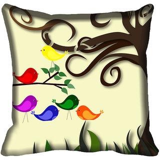 meSleep Birds Digitally Printed Cushion Cover (20x20)