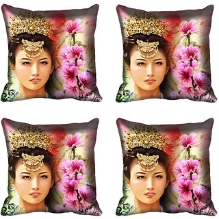 meSleep Multi Floral Girl Digitally Printed Cushion Cover (20x20)